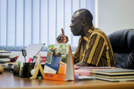James Lartey, from FDA Ghana, in his office.}