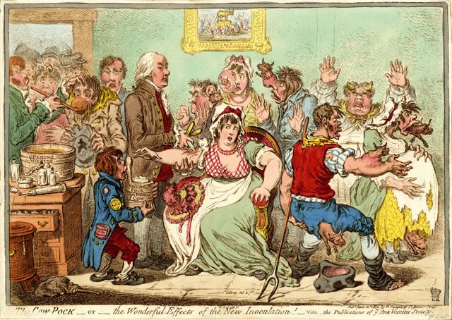 Satirical print from 1802 called The Cow-Pock-or-the Wonderful Effects of the New Inoculation!}