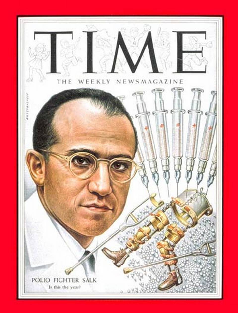 Jonas Salk, on the cover of Time magazine in 1954.}