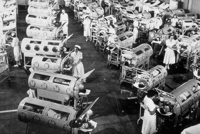 Room with so-called 'iron lungs' for serious cases of polio.}